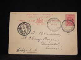 Jamaica 1910 Walderston One Penny Red Stationery Card To Switzerland__(L-32561) - Jamaica (...-1961)