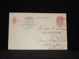 Norway 1915 Bergen 10ö Red Censored Stationery Card To Finland__(L-33254) - Postal Stationery