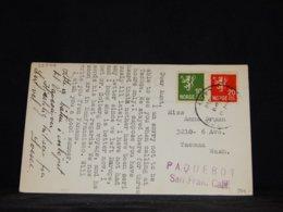 Norway 1938 Paquebot Postcard To USA__(L-33999) - Noorwegen