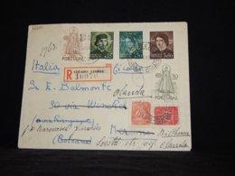 Portugal 1950 Lisboa Registered Cover To Italy__(L-32310) - 1910-... Republik