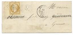 BORD DE FEUILLE N° 13 BISTRE NAPOLEON SUR LETTRE / EPINAL VOSGES POUR EPINAL / 1854 / BOITE RURALE Q AVIERE - Storia Postale
