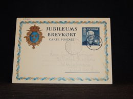Sweden 1938 Karlmar 10Kr Blue Stationery Card To Finland__(L-33164) - Entiers Postaux