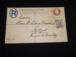UK 1904 Two Pence Brown Station Envelope To Stuttgart__(L-31210) - 1902-1951 (Re)