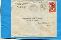 Marcophilie-Moyen Congo-A E F-lettre   >Françe-cad  1958- Moyen Congo Ses Chasses Stamps N°220 Jeune F  Bacongo - Congo Français (1891-1960)