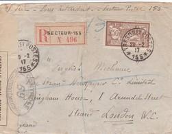 N° 130 S / Env Recommandé Censurée T.P. Ob Trésor Et Postes 155 Pour Londres Grande Bretagne - 1900-27 Merson