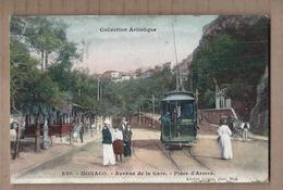 CPA MONACO - Avenue De La Gare - Place D'Armes - TB ANIMATION GROS PLAN TRAMWAY CHEMIN DE FER TB Oblitération - Monaco