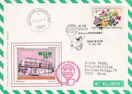 Austria Österreich 1974 Cover: Trensport Ballon Balon Post: Ballonpost Wien; Wig 74 - Transports