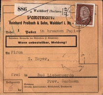 ! 1934 Paketkarte Deutsches Reich, Walddorf In Sachsen Nach Bad Liebenwerda - Storia Postale