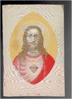 TABLEAU EN SOIE TISSEE DEBUT XXe PAR NEYRET FRERES DE SAINT ETIENNE SACRE COEUR DE JESUS CHRIST WOVEN SILK - Religión & Esoterismo