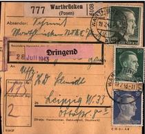 ! 1943 Paketkarte Deutsches Reich, Wartbrücken Bezirk Posen - Covers & Documents