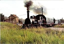 88 SNCF CHEMIN DE FER A VAPEUR DU RABODEAU FRANCHISSANT LE PASSAGE A NIVEAU DE LA RN 59 PEU APRES ETIVAL-CLAIREFONTAINE - Railway