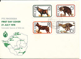 Rhodesia FDC Salisbury 21-7-1976 Vulnerable Species Of Wild Life Complete Set Of 4 With Cachet - Rhodesia (1964-1980)