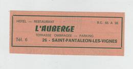 Publicité  Hôtel Restaurant L'Auberge Saint Pantaléon Les Vignes - Werbung