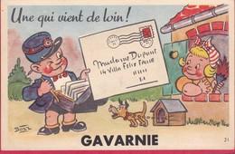"""CPA 65 Carte à Système GAVARNIE  Signé Bozz """" Une Qui Vient De Loin """" Facteur Qui Amène Le Courrier - Gavarnie"""