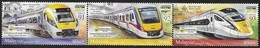 MALAYSIA, 2018, MNH, TRAINS, OVERPRINTED WITH INTERNATIONAL BANKNOTE AND STAMP FAIR OVERPRINT, 3v - Trains