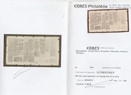 Guerre 1870 1871 Siège Paris  Pigeongramme  Avec Certificat CERES - Otros
