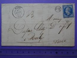 T15 De WASSY (HAUTE-MARNE) Sur N°14 + PC 3498 + OR De Forges De Buisson Du 17.8.1862 Pour Marle (Aisne) - Postmark Collection (Covers)