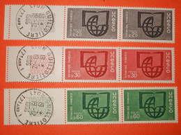 FRANCE 1966 - N°36/38. Unesco . 3  Paires Horizontales.** En 1er  Jour D'utilisation Du 19/12/1966. Superbe - Service