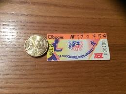 """Ticket De Transport (Bus, Métro, Tramway) TCL Abonnement """"OCT. 96 - CIGOGNE - MARATHON"""" LYON (69) - Europe"""