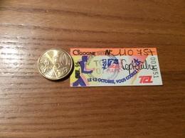 """Ticket De Transport (Bus, Métro, Tramway) TCL Abonnement """"OCT. 96 (barré, Tampon TCL DIST- CIGOGNE - MARATHON"""" LYON (69) - Europe"""