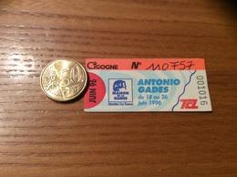 """Ticket De Transport (Bus, Métro, Tramway) TCL Abonnement """"JUIN 96 -CIGOGNE- ANTONIO GADES MAISON DE LA DANSE"""" LYON (69) - Europe"""