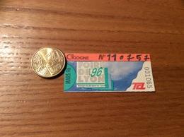 """Ticket De Transport (Bus, Métro, Tramway) TCL Abonnement """"MARS 96 -CIGOGNE- FOIRE DE LYON 96 """" LYON (69) - Europe"""