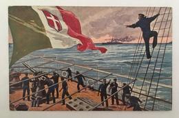 420 Transatlantica Italiana Genova  - Il Mare Nostro Alleato Anno 1919 - Patriottiche
