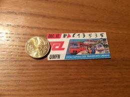 """Ticket De Transport (Bus, Métro, Tramway) TCL Abonnement """"DÉC. 92 -UMFN- CAPITALE DES TRANSPORTS URBAINS """" LYON (69) - Autobus"""