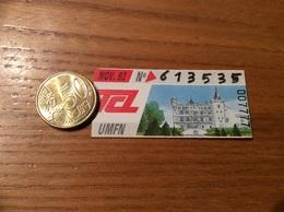 """Ticket De Transport (Bus, Métro, Tramway) TCL Abonnement """"NOV. 92 -UMFN- CHÂTEAU DE ST-PRIES """" LYON (69) - Europe"""