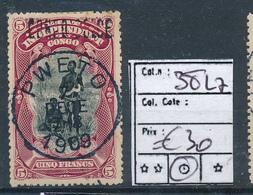 BELGIAN CONGO 1909 ISSUE COB 38L7 USED PWETO - Belgisch-Kongo