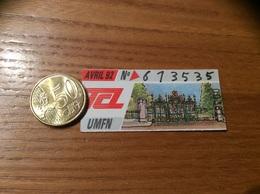 """Ticket De Transport (Bus, Métro, Tramway) TCL Abonnement """"AVRIL 92 -UMFN """" LYON (69) - Autobus"""