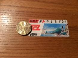 """Ticket De Transport (Bus, Métro, Tramway) TCL Abonnement """"MARS 92 -UMFN """" LYON (69) - Europe"""