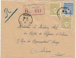 LCTN59/LE/DIV2 - ARC DE TRIOMPHE 1ére SERIE 4fr  ET 50c SUR RECOMMANDE TOURY 6/11/1944 - 1944-45 Arco Di Trionfo