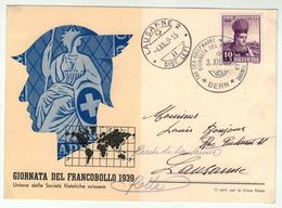 Suisse // Schweiz // Switzerland // 1907-1939 // Carte De La Journée Du Timbre 1939 (Italien) - Svizzera