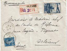 LCTN59/LE/DIV2 - TRAVERSEE ATLANTIQUE SUD 1f50 + SEMEUSE SUR RECOMMANDEE ORLEANS 25/11/1938 - France