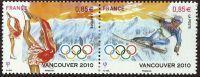 N° 4436 + 44377 Ski JO Vancouver Faciale 0,85 € X2 - France