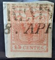 AUSTRIA / LOMBARDO-VENEZIA 1850/54 - TREVISO Cancel - ANK LV3 - 15 Centes - Oblitérés