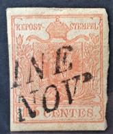 AUSTRIA / LOMBARDO-VENEZIA 1850/54 - UDINE Cancel - ANK LV3 - 15 Centes - Oblitérés