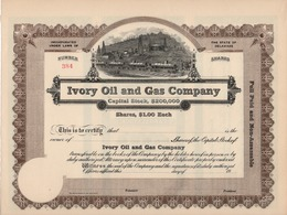 Titre De Bourse Made In USA - IVORY OIL AND GAS COMPANY - NOT USED. - Oil