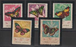 Iran 1974 Papillons 1537-41 5 Val ** MNH - Irán
