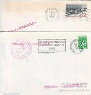 Deux Enveloppes Marine Nationale, L'une Du Patrouilleur Arcturus Avec Cad De Fort De France, L'autre Du BH2 Boussole - Marcofilie (Brieven)