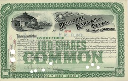 Titre De Bourse Made In USA - MISSOURI - KANSAS - TEXAS - RAILWAY COMPANY - 1906 - Chemin De Fer & Tramway