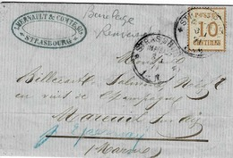TP N° 5 Avec Burelage Renversé Sur Lettre De Strasbourg Pour Mareuil Sur Ay - Alsace Lorraine