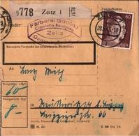 ! 1943 Paketkarte Deutsches Reich, Zeitz Nach Neukieritzsch - Storia Postale