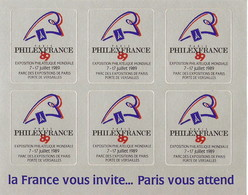 France - 6 Vignettes Adhésives Philexfrance 89 - Exposition Philatélique - Erinnophilie - Erinnophilie