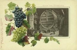 "HEIDELBERG 1901 "" Colored Chromo WEINTRAUBEN = Grapes, Vin + Foto Grosses Fass Big Barrel "" - Heidelberg"