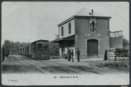 Ay - Gare Du C. B. R. - Vve Mougin - Photo A. Breger Frères - Voir 2 Scans - Ay En Champagne