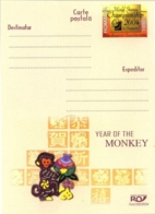 7269  Astrologie Chinoise, Singe: Entier (c.p.) Roumanie, 2004 - Year Of The Monkey Stationery Postcard. China Astrology - Astrology