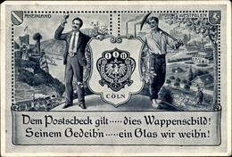 Artiste Cp Köln Am Rhein, Kaiserliches Postscheckamt, Wappenschild, Weinverkostung, Bergmann, Rhein - Germany