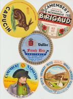 Étiquettes De Fromage (Lot De 5) : CAMEMBERT : Rigaud, Vallée, Napoléon, Capucin, Normandie, Clécy, Champsecret, London - Formaggio
